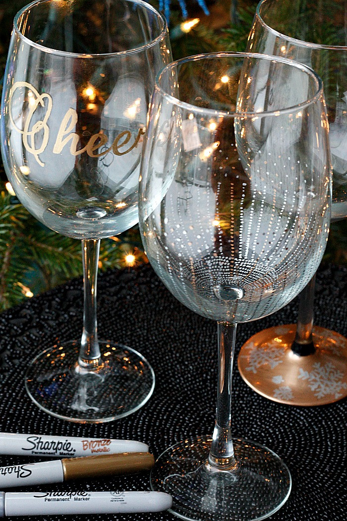 Best ideas about DIY Christmas Wine Glasses . Save or Pin DIY Wine Glasses using Sharpies Belle Vie Now.