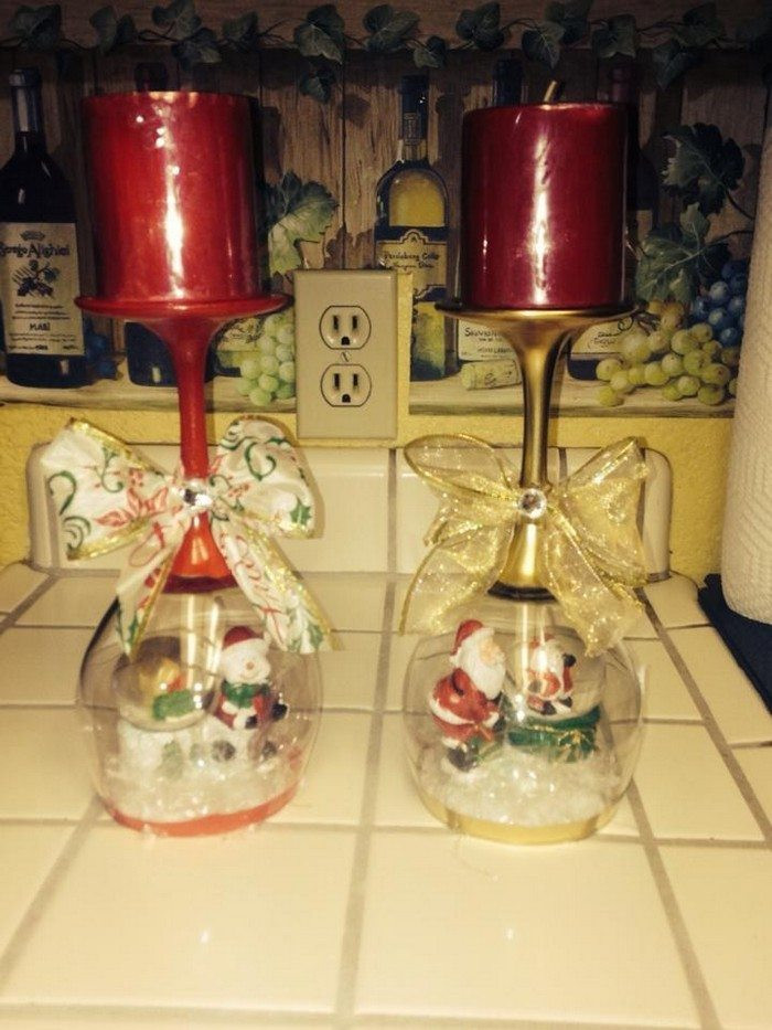 Best ideas about DIY Christmas Wine Glasses . Save or Pin Wine glass snow globes Now.