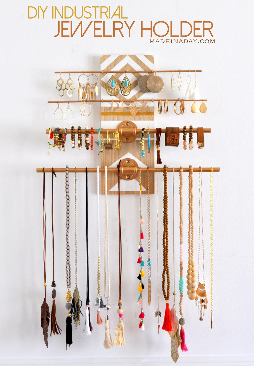 Best ideas about DIY Jewelry Rack . Save or Pin DIY Geometric Industrial Wall Jewelry Organizer Now.