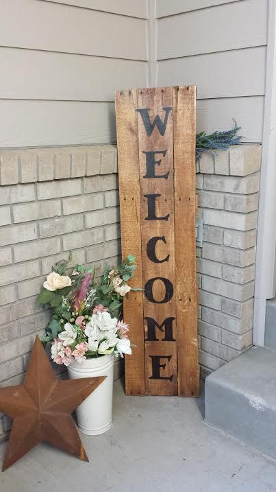 Best ideas about DIY Outdoor Sign . Save or Pin Wel e Sign made from an old wood pallet cherry stain a Now.