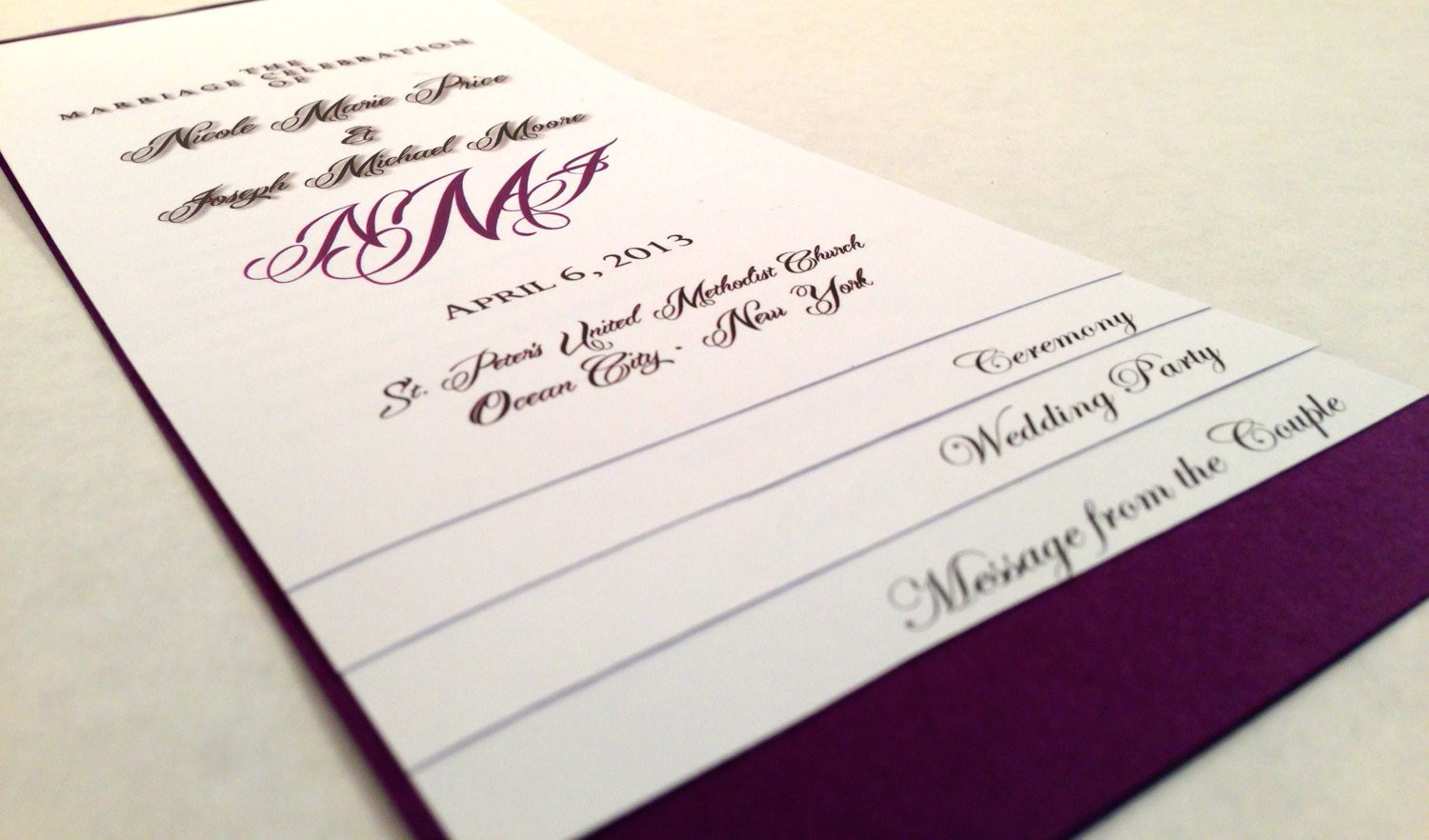 Best ideas about DIY Wedding Programs Template . Save or Pin DIY 5 PAGE Layered Wedding Program Template Monogram Now.