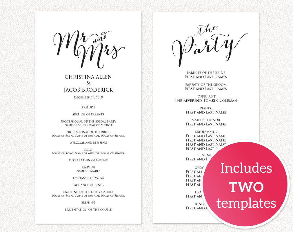 Best ideas about DIY Wedding Programs Template . Save or Pin DIY Wedding Templates · Wedding Templates and Printables Now.