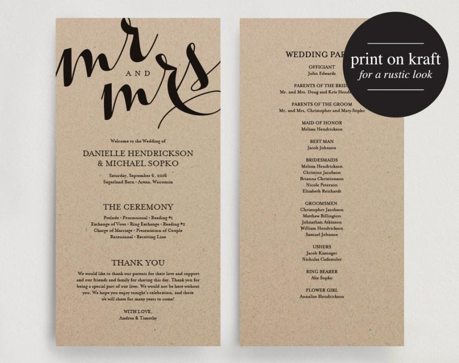 Best ideas about DIY Wedding Programs Template . Save or Pin Wedding Program Printable Template Printable Program Now.