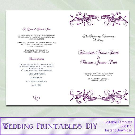 Best ideas about DIY Wedding Programs Template . Save or Pin Items similar to Wedding Program Template Diy Printable Now.