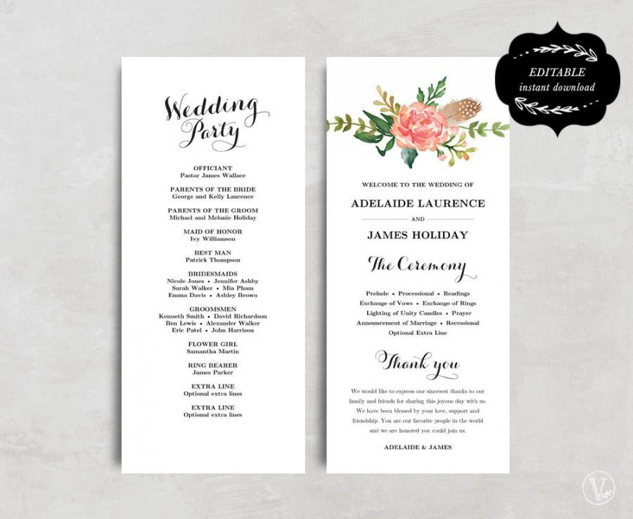 Best ideas about DIY Wedding Programs Template . Save or Pin Printable Wedding Program Template Floral Wedding Program Now.