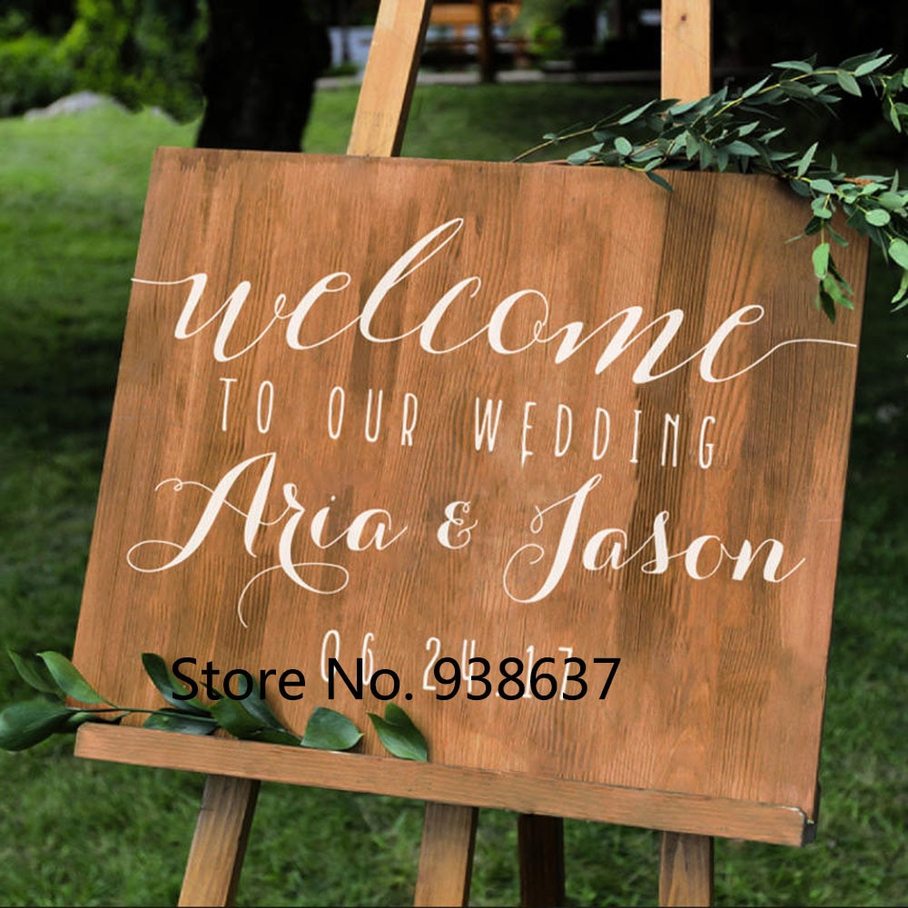 Best ideas about DIY Wedding Welcome Sign . Save or Pin Simple Vinyl Wall Decal Stickers For Wedding Personalized Now.