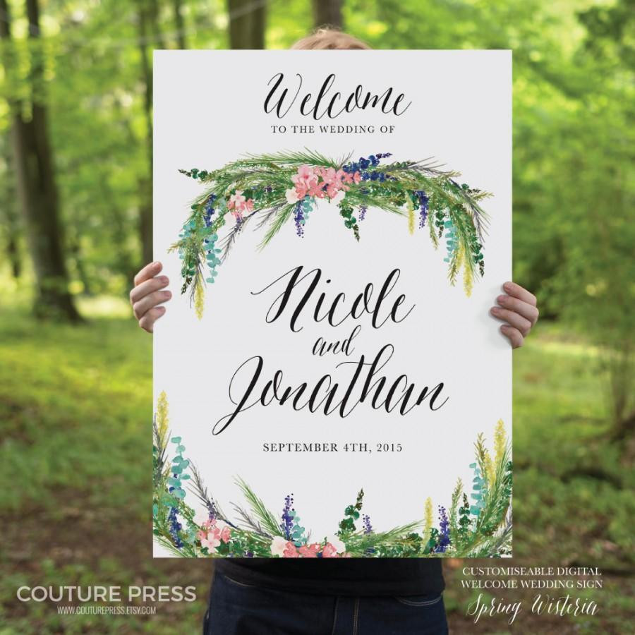 Best ideas about DIY Wedding Welcome Sign . Save or Pin Printable Wedding Wel e Sign Watercolor Spring Wisteria Now.