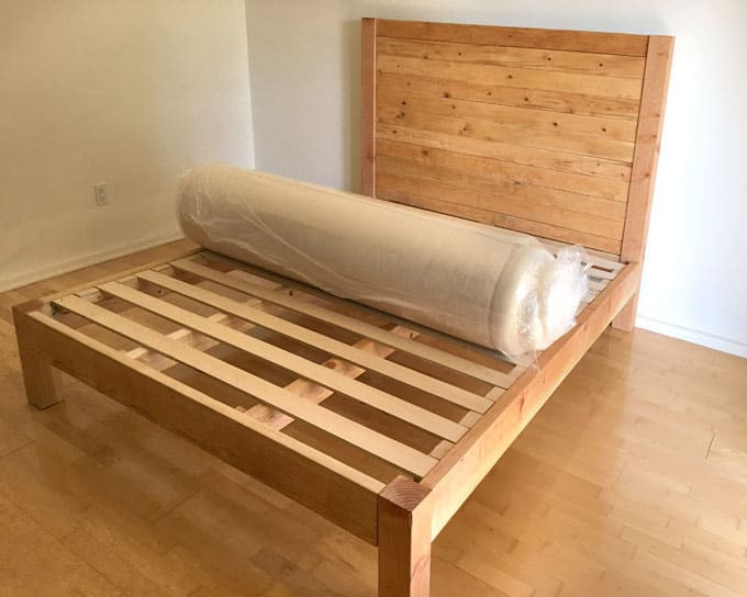Best ideas about DIY Wood Bed . Save or Pin DIY Bed Frame and Wood Headboard A Piece Rainbow Now.