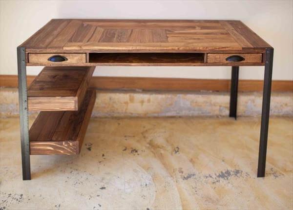 Best ideas about DIY Wooden Desk . Save or Pin Pallet Desk with Drawers and shelves Now.