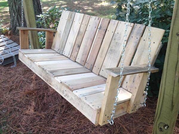 Best ideas about DIY Wooden Swing . Save or Pin DIY Pallet Outdoor Two seated Swing Now.