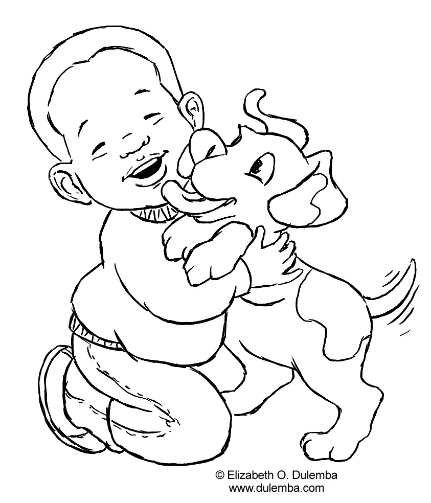 Best ideas about Dog Coloring Pages For Boys . Save or Pin Dog And Boy Coloring Page Now.