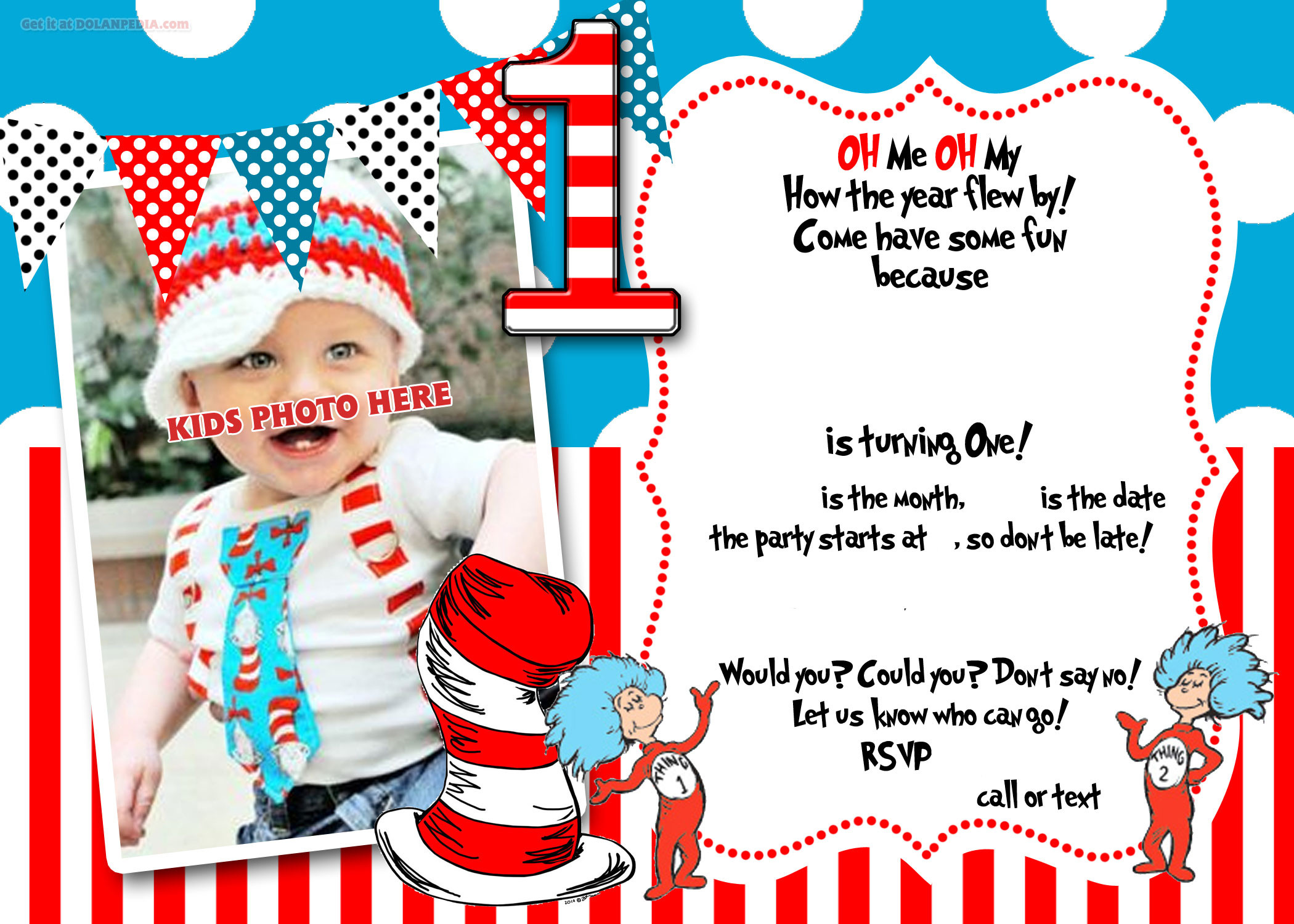 Best ideas about Dr Seuss 1st Birthday Invitations . Save or Pin FREE Printable dr Seuss 1st Birthday Invitation Template Now.