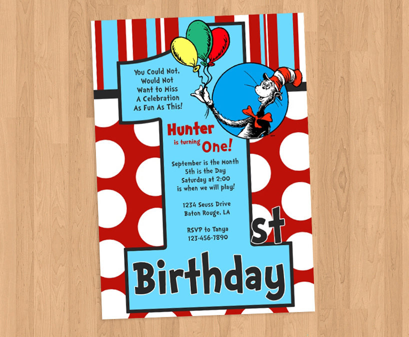 Best ideas about Dr Seuss 1st Birthday Invitations . Save or Pin Dr Seuss 1st Birthday Invitation DIY Printable Now.