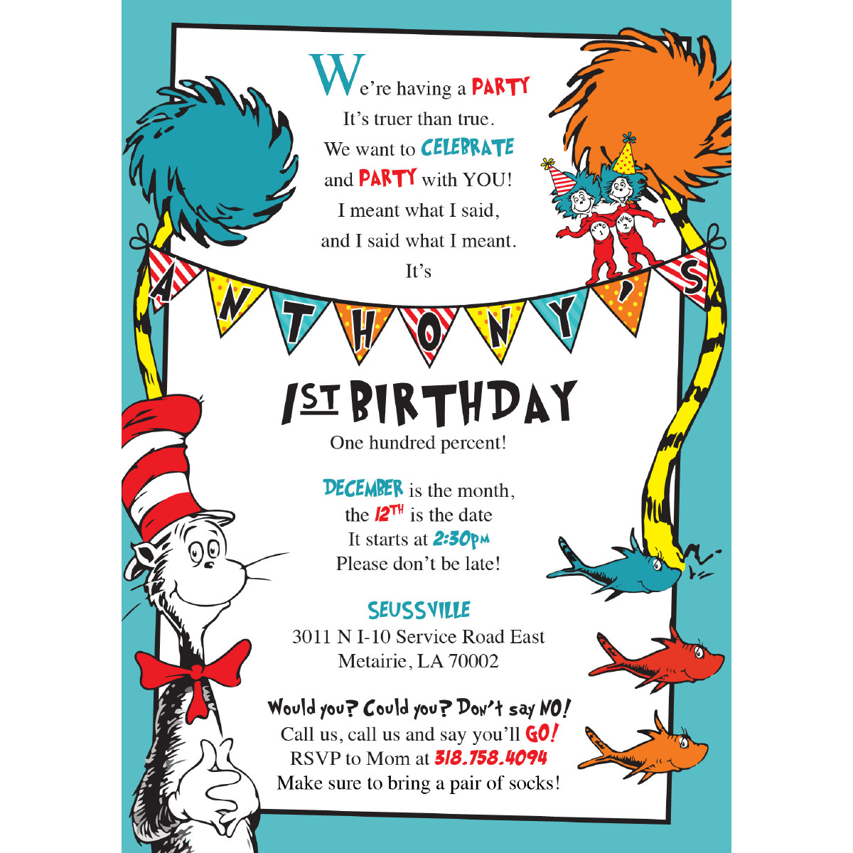 Best ideas about Dr Seuss 1st Birthday Invitations . Save or Pin Dr Seuss Birthday Invitations – Blackline Now.