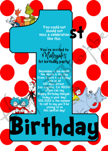 Best ideas about Dr Seuss 1st Birthday Invitations . Save or Pin Dr Seuss 1st Birthday Party Invitations Invites Now.