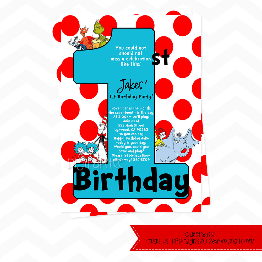 Best ideas about Dr Seuss 1st Birthday Invitations . Save or Pin Dr Seuss Invitations For 1st Birthday ly by dpdesigns2012 Now.