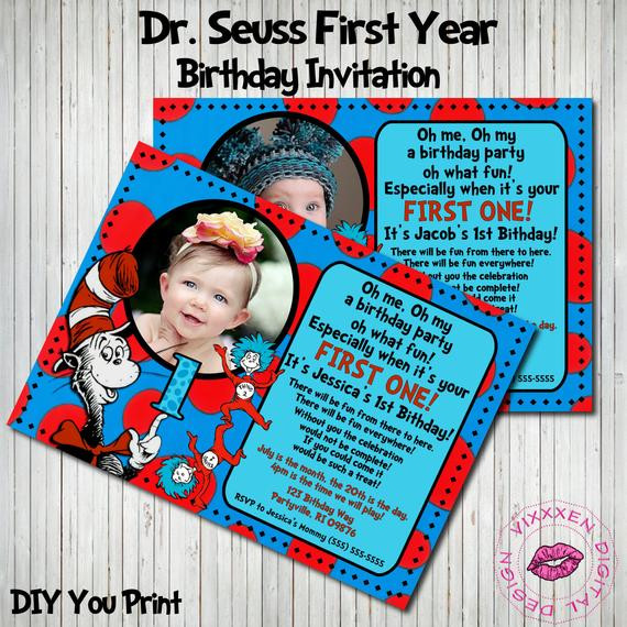 Best ideas about Dr Seuss 1st Birthday Invitations . Save or Pin Unavailable Listing on Etsy Now.