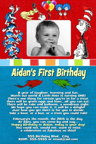 Best ideas about Dr Seuss 1st Birthday Invitations . Save or Pin Dr Seuss First 1st Birthday Invitation Now.