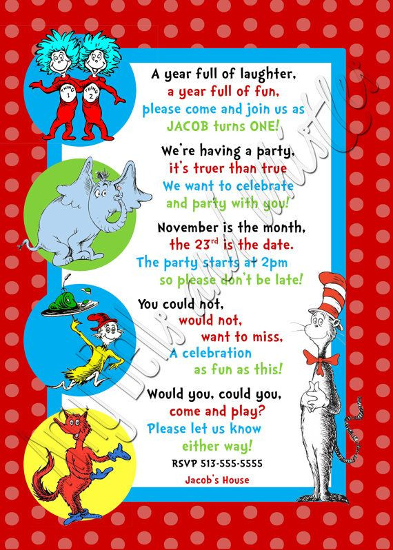 Best ideas about Dr Seuss 1st Birthday Invitations . Save or Pin Custom Personalized Dr Seuss 1st 2nd or 3rd Birthday Now.