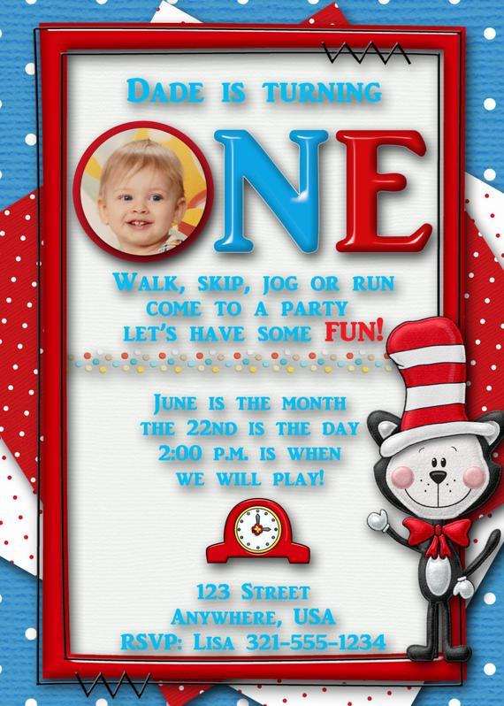 Best ideas about Dr Seuss 1st Birthday Invitations . Save or Pin Dr Seuss Birthday Party Invitation Custom First Birthday Now.