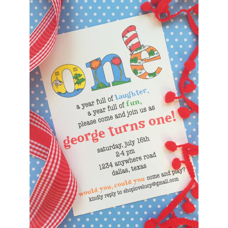 Best ideas about Dr Seuss 1st Birthday Invitations . Save or Pin Dr Seuss Birthday Invitation Now.