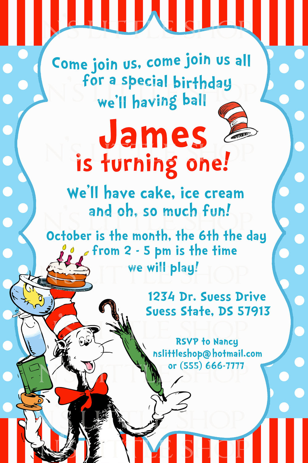 Best ideas about Dr Seuss 1st Birthday Invitations . Save or Pin Dr Seuss Birthday Invitations Wording Now.