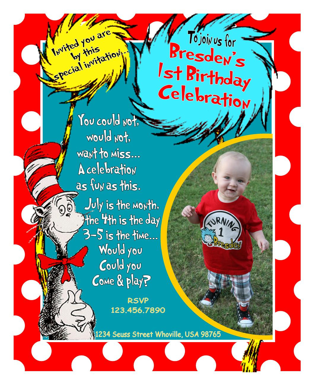 Best ideas about Dr Seuss 1st Birthday Invitations . Save or Pin Modern Mommy MustHaves Our Dr Seuss 1st Birthday Party Now.