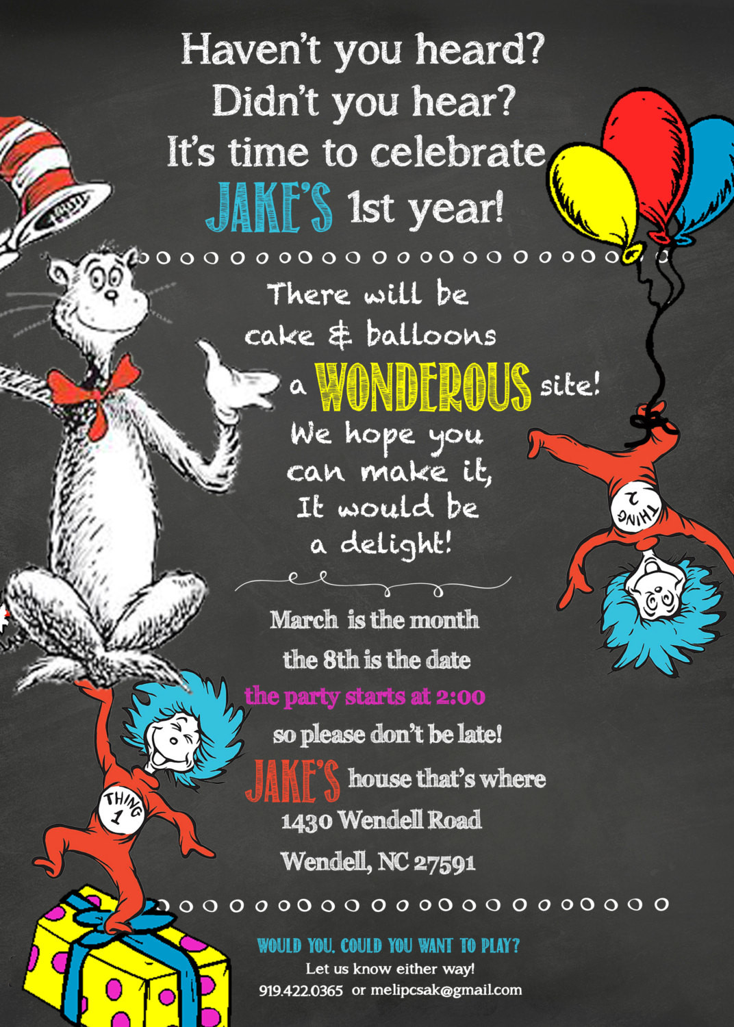 Best ideas about Dr Seuss 1st Birthday Invitations . Save or Pin 25 5X7 Dr Seuss 1st Birthday Chalkboard by PaperieLaneDesigns Now.