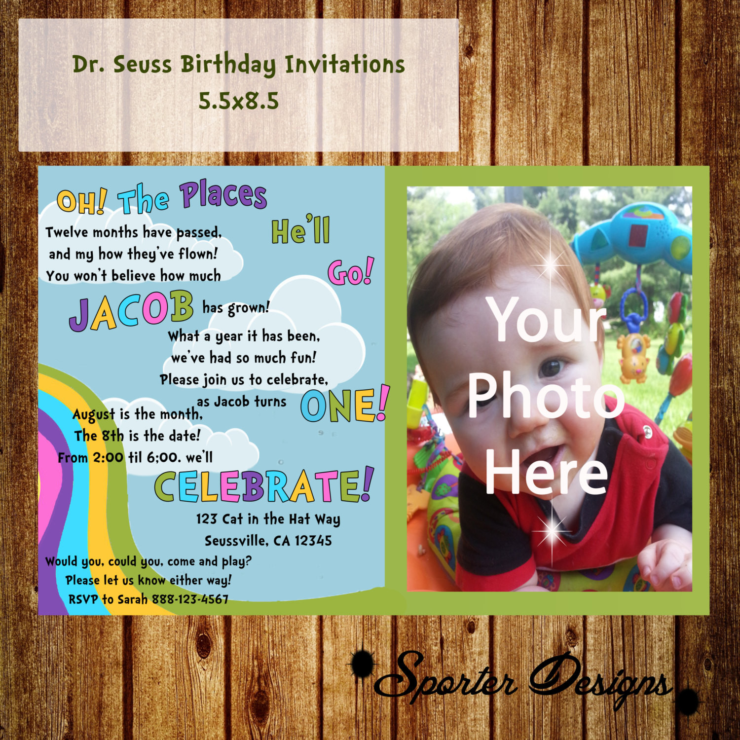 Best ideas about Dr Seuss 1st Birthday Invitations . Save or Pin Dr Seuss First Birthday Invitations 5 5x8 5 Now.
