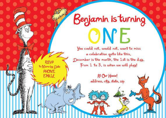 Best ideas about Dr Seuss 1st Birthday Invitations . Save or Pin Items similar to Dr Seuss First Birthday Party Invitation Now.