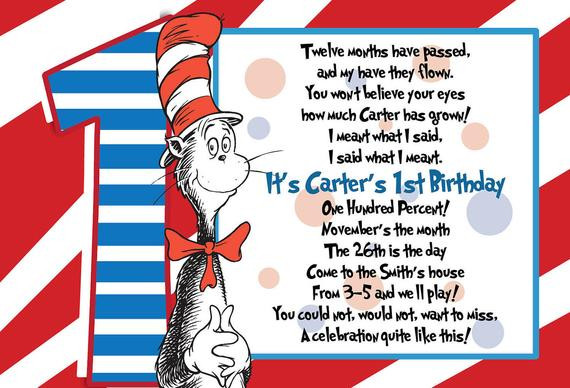 Best ideas about Dr Seuss 1st Birthday Invitations . Save or Pin KARA CUSTOM LISTING 30 Dr Suess 1st Birthday Invitations Now.