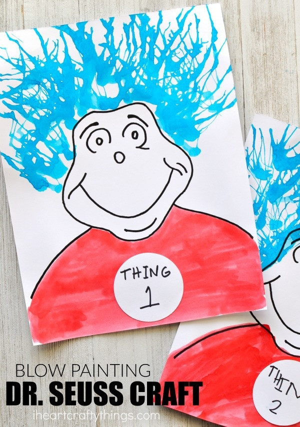 Best ideas about Dr Seuss Craft Ideas For Preschoolers . Save or Pin Thing e and Thing Two Blow Painting Dr Seuss Craft Now.