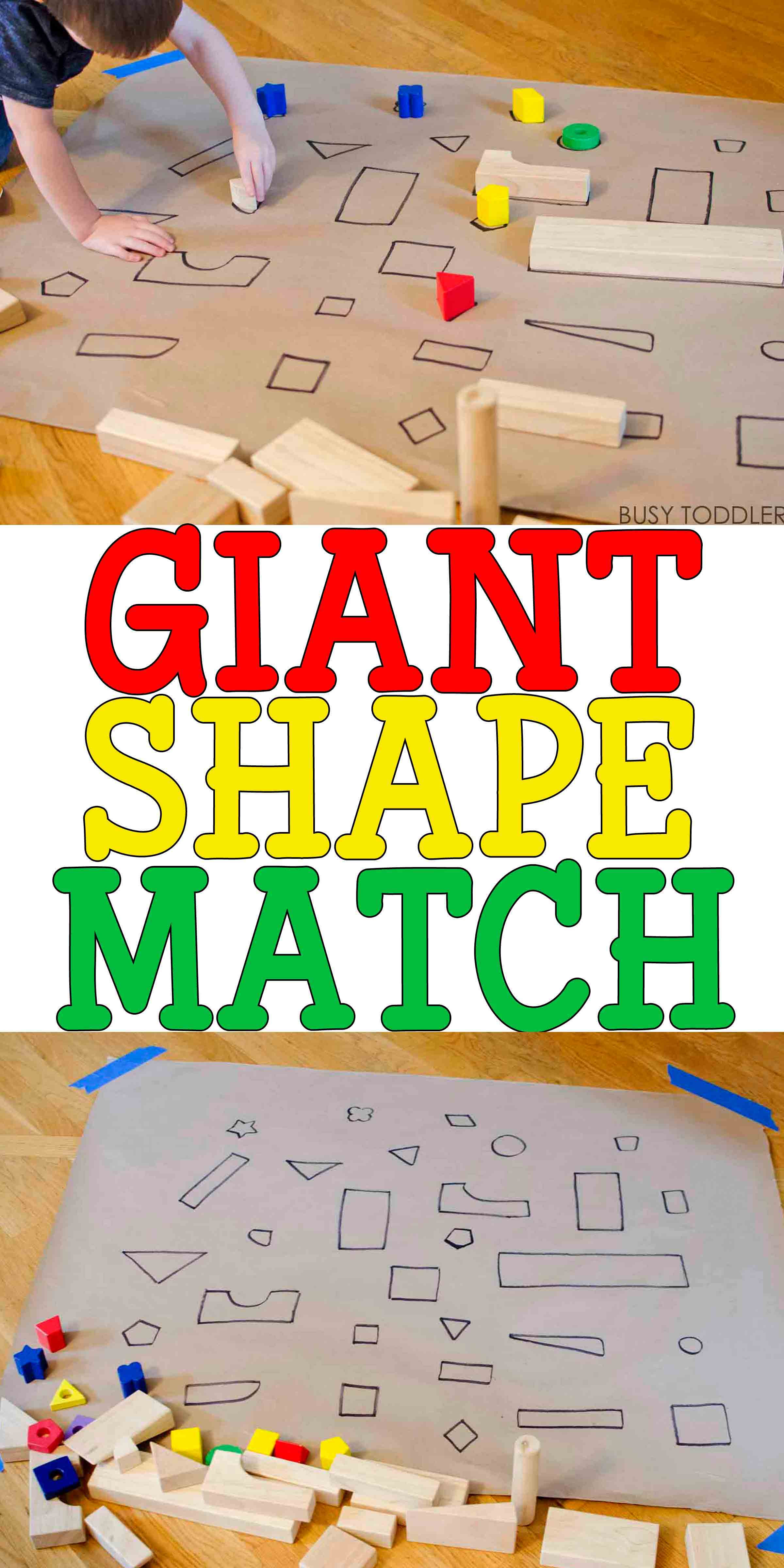 Best ideas about Easy Activities For Preschoolers . Save or Pin Giant Shape Match Activity Busy Toddler Now.