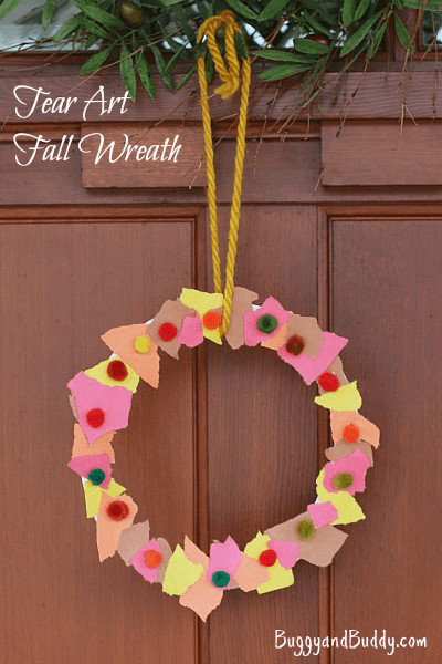 Best ideas about Easy Art Activities Preschoolers . Save or Pin Fall Crafts for Kids Tear Art Fall Wreath Buggy and Buddy Now.