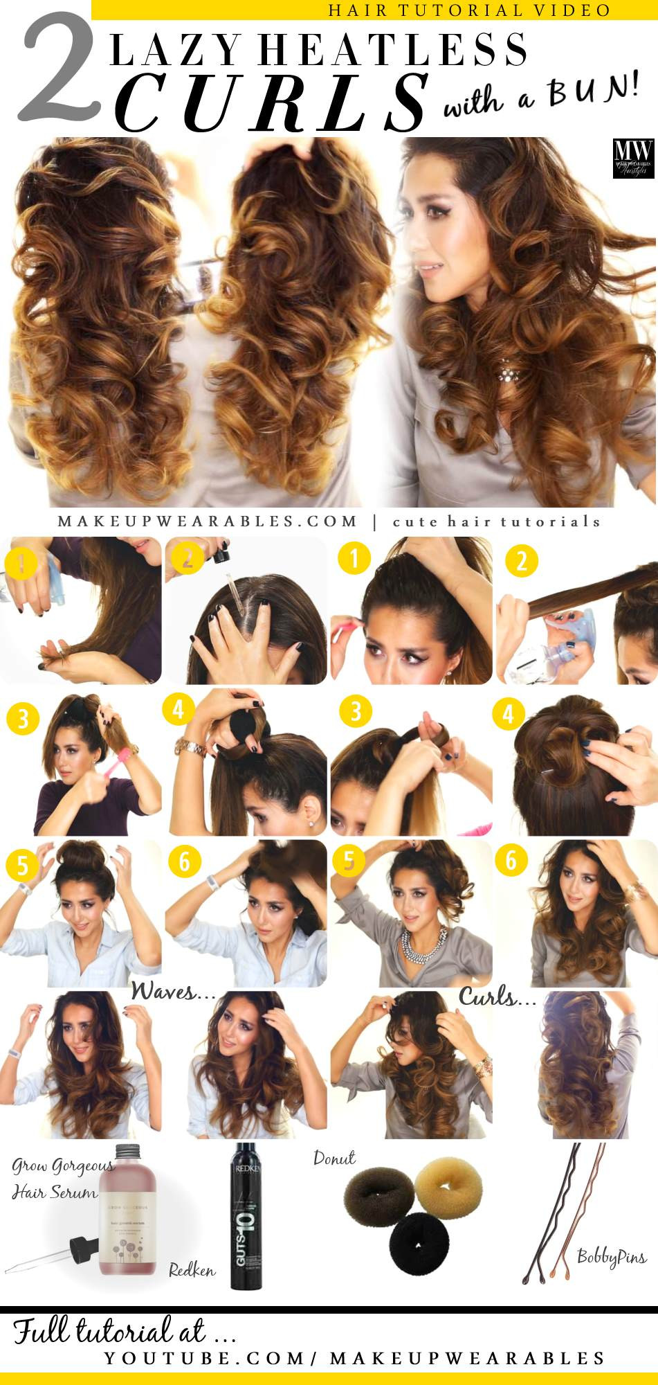 Best ideas about Easy Overnight Hairstyles . Save or Pin 2 Ways to Lazy Heatless Curls using a Bun Now.