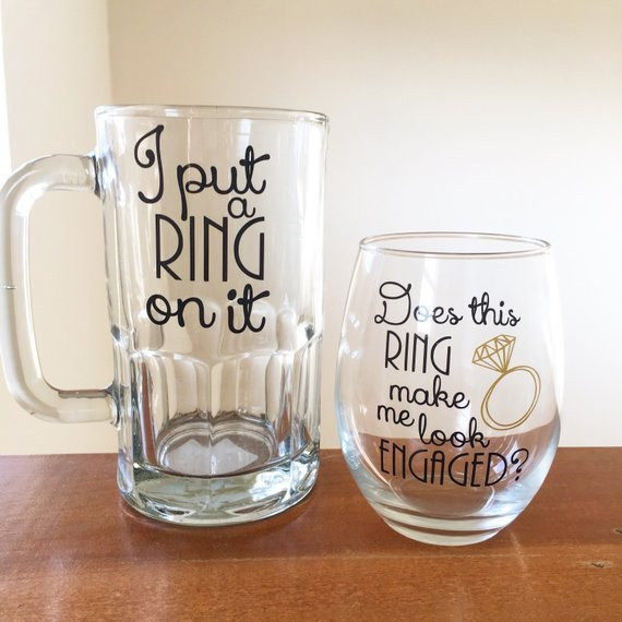 Best ideas about Engagement Gift Ideas For Couple . Save or Pin Couples engagement t I put a ring on it beer mug does this Now.