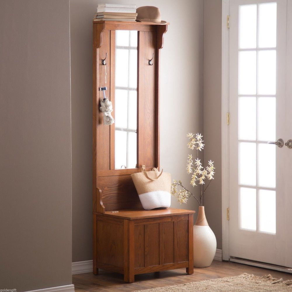 Best ideas about Entryway Bench With Hooks . Save or Pin Entryway Storage Bench With Coat Rack Oak — STABBEDINBACK Now.