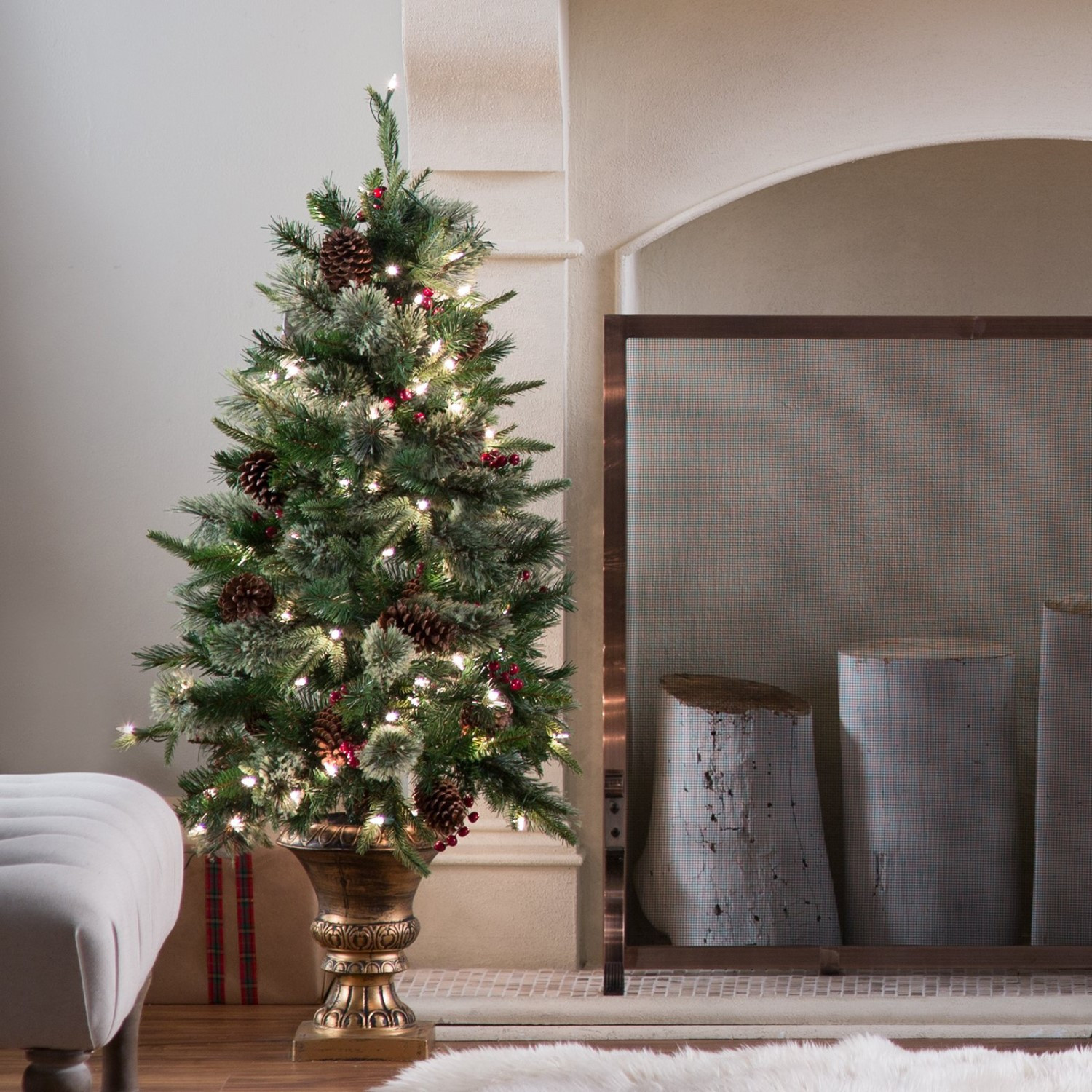 Best ideas about Entryway Christmas Tree . Save or Pin 4 ft Pre lit Feel Real Colonial Potted Entryway Christmas Now.