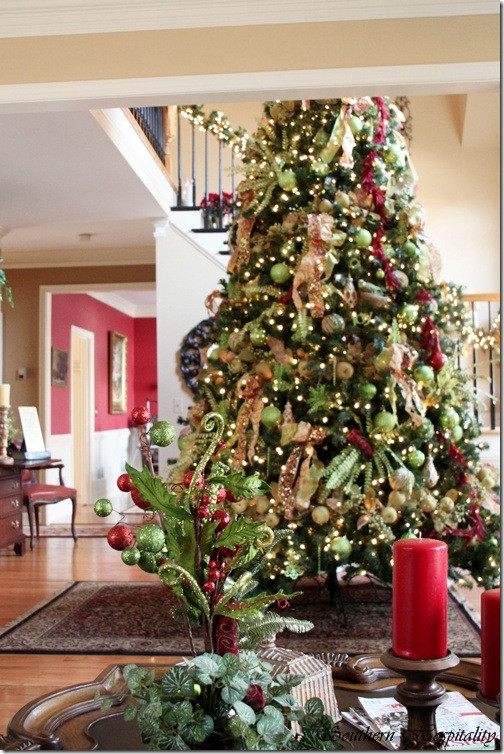 Best ideas about Entryway Christmas Tree . Save or Pin Feature Friday Ruby s Big and Festive Foyer Tree Now.