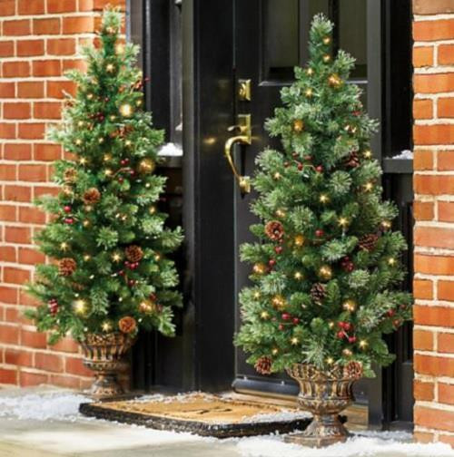 Best ideas about Entryway Christmas Tree . Save or Pin 4 Lighted Pre Lit CORDLESS Christmas Porch Tree Topiary Now.
