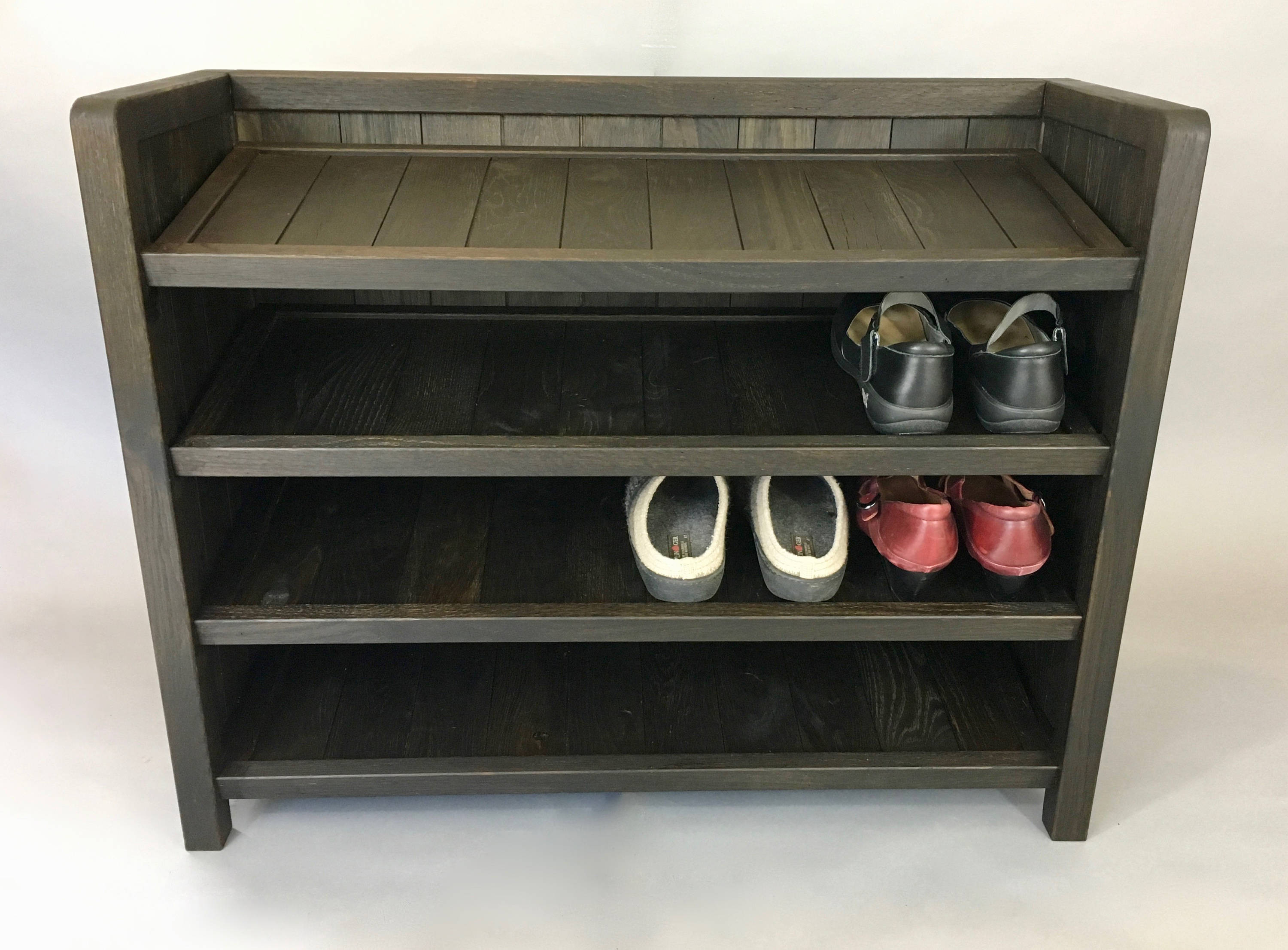 Best ideas about Entryway Shoe Rack . Save or Pin Solid Wood Shoe Rack made with Reclaimed Oak with Now.