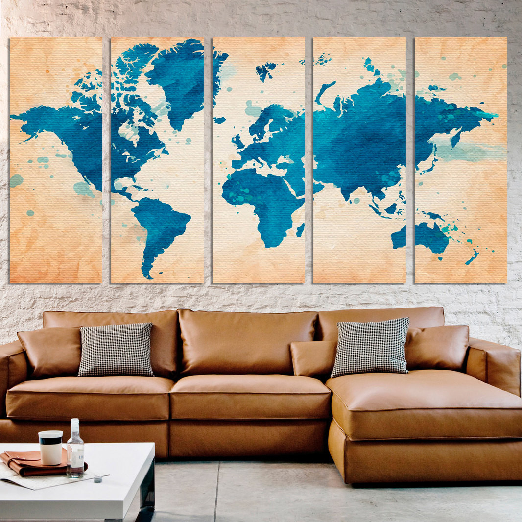 Best ideas about Extra Large Wall Art . Save or Pin Extra Wall Art Watercolor map World Framed Canvas Now.