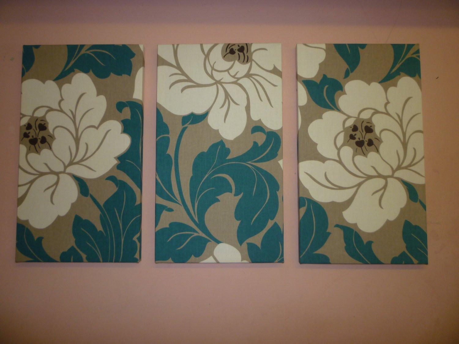 Best ideas about Fabric Wall Art . Save or Pin Big Fabric Wall Art Teal Petrol Blue Cream Taupe Funky Retro Now.