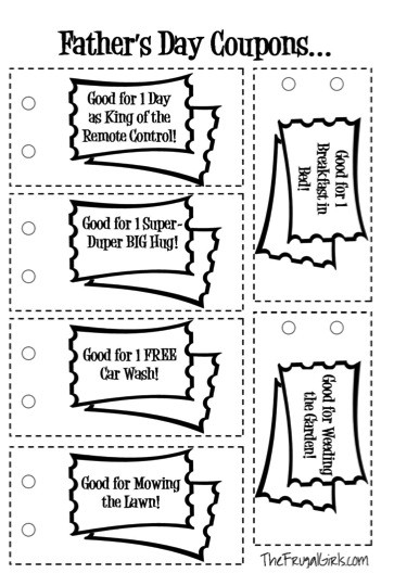 Best ideas about Father'S Day Coupon Book Printable Coloring Pages . Save or Pin FREE Father s Day Printable Coupons The Frugal Girls Now.