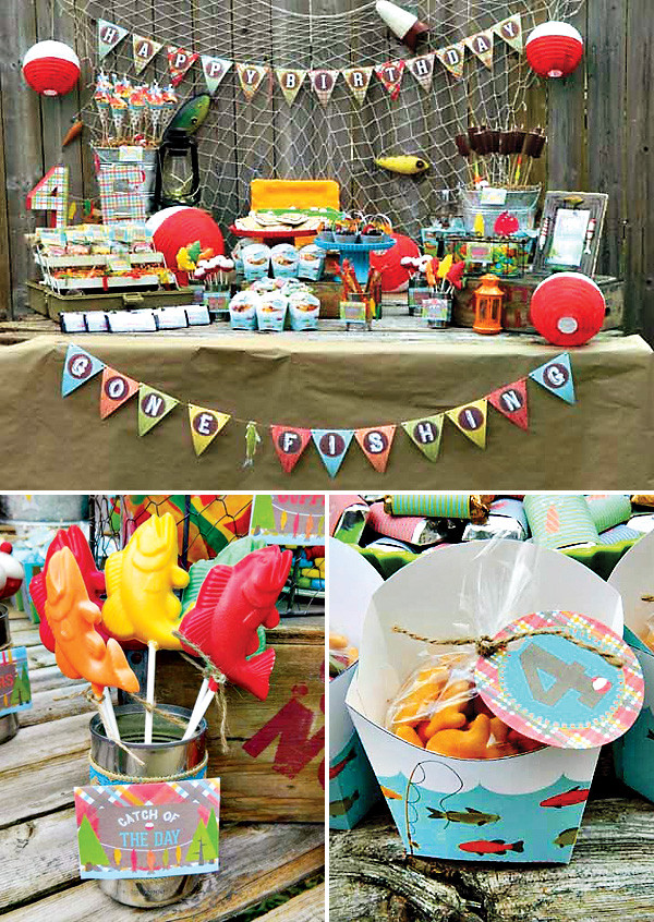 """Best ideas about Fishing Birthday Decorations . Save or Pin A Reel Fun """"Gone Fishing"""" Birthday Party Hostess with Now."""