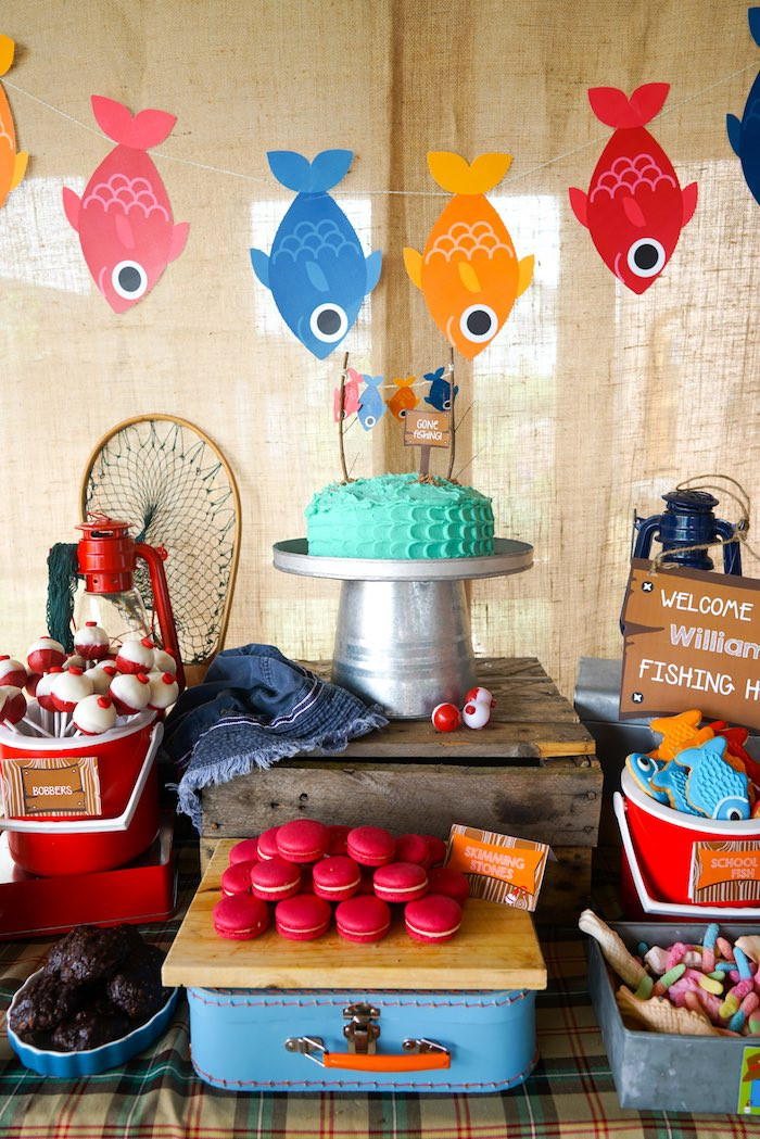 Best ideas about Fishing Birthday Decorations . Save or Pin Kara s Party Ideas William s Gone Fishing Birthday Party Now.