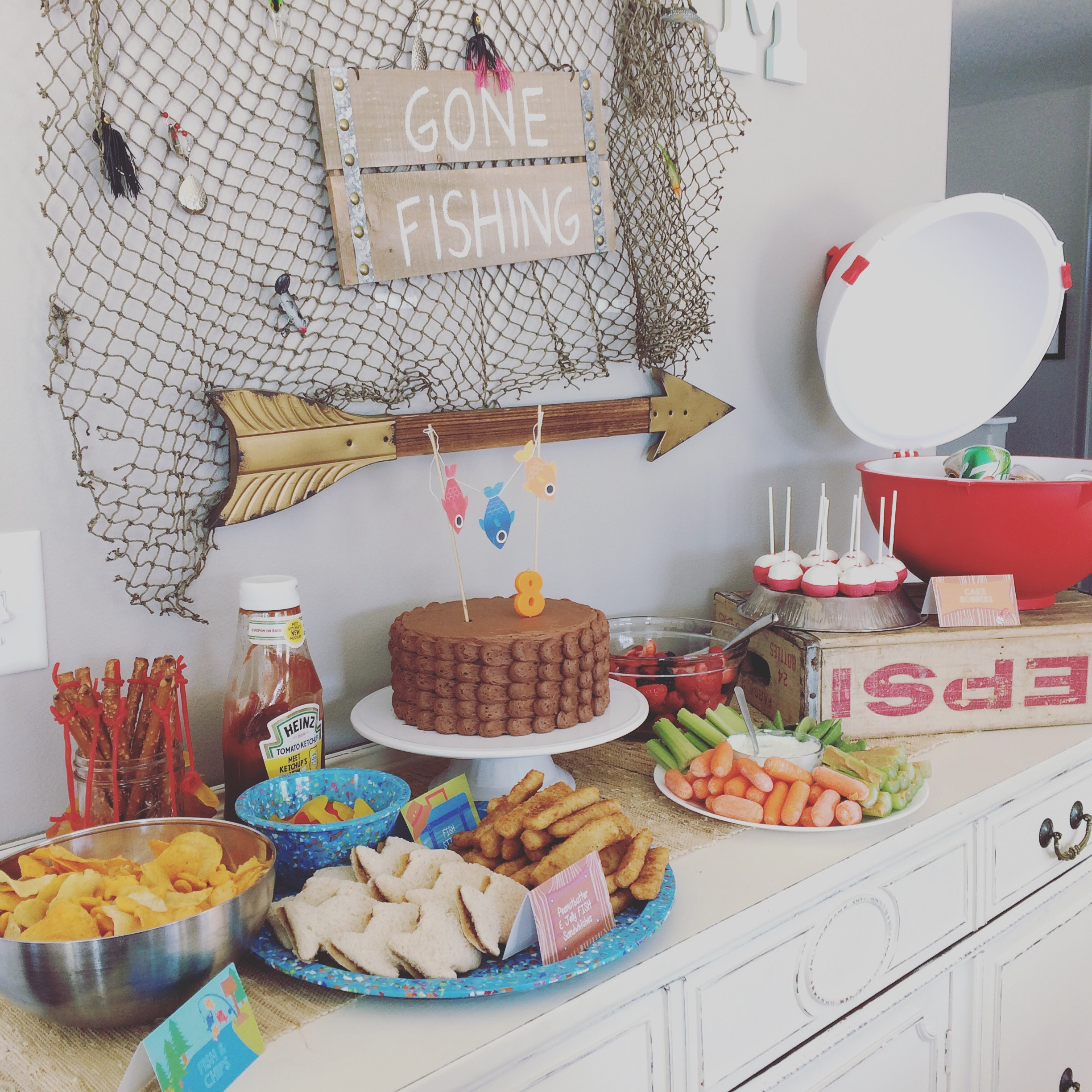 Best ideas about Fishing Birthday Decorations . Save or Pin Gone Fishing Birthday Party beingLIBBY Now.
