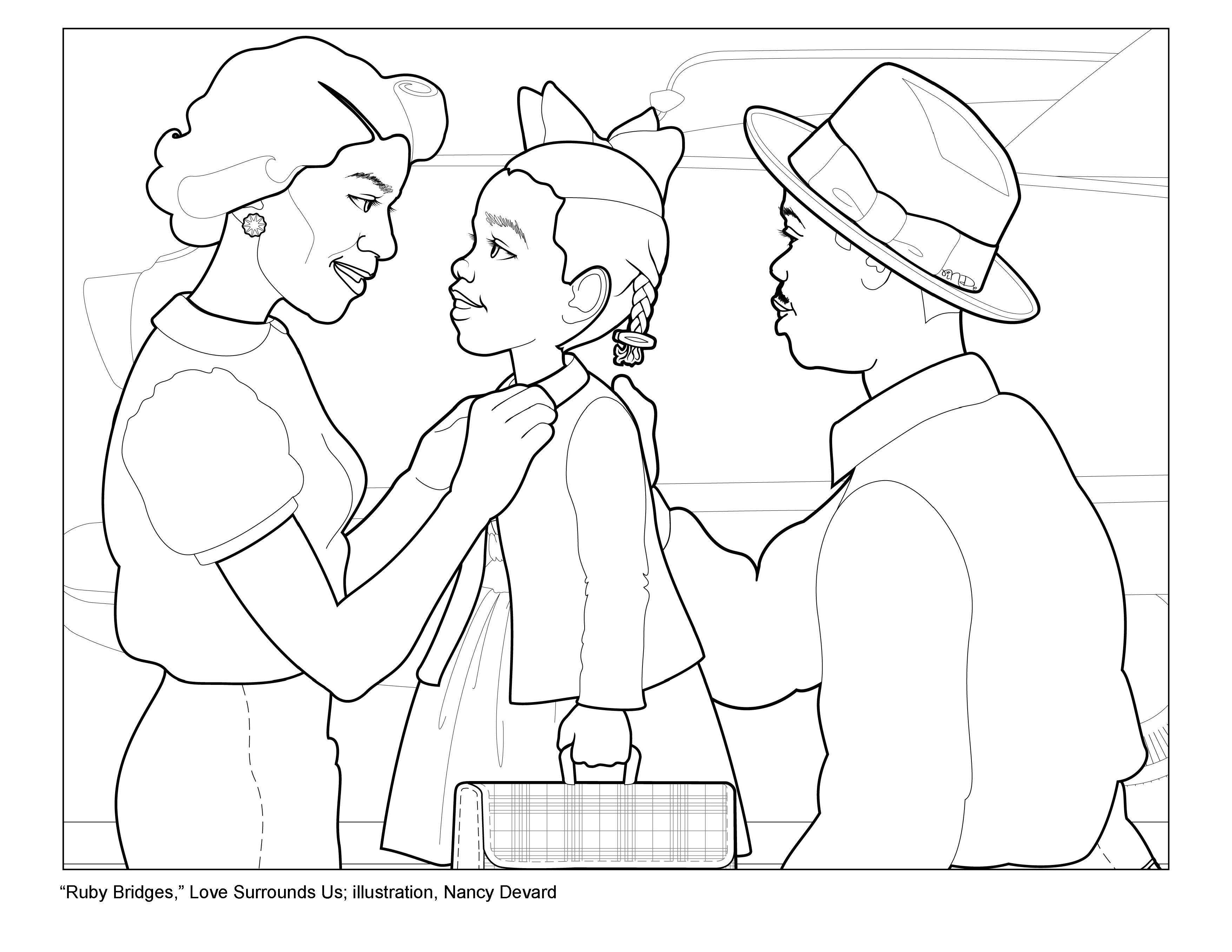 Best ideas about Free Coloring Pages Of Ruby Bridges . Save or Pin Ruby Bridges Surrounded by Love Now.