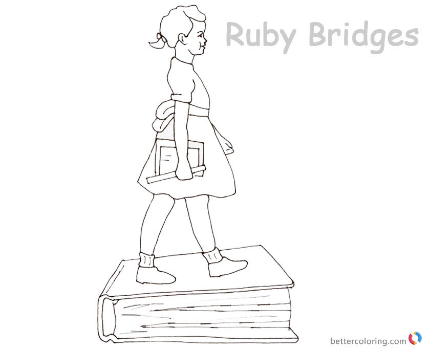 Best ideas about Free Coloring Pages Of Ruby Bridges . Save or Pin Ruby Bridges Coloring page Goes to School with book Free Now.