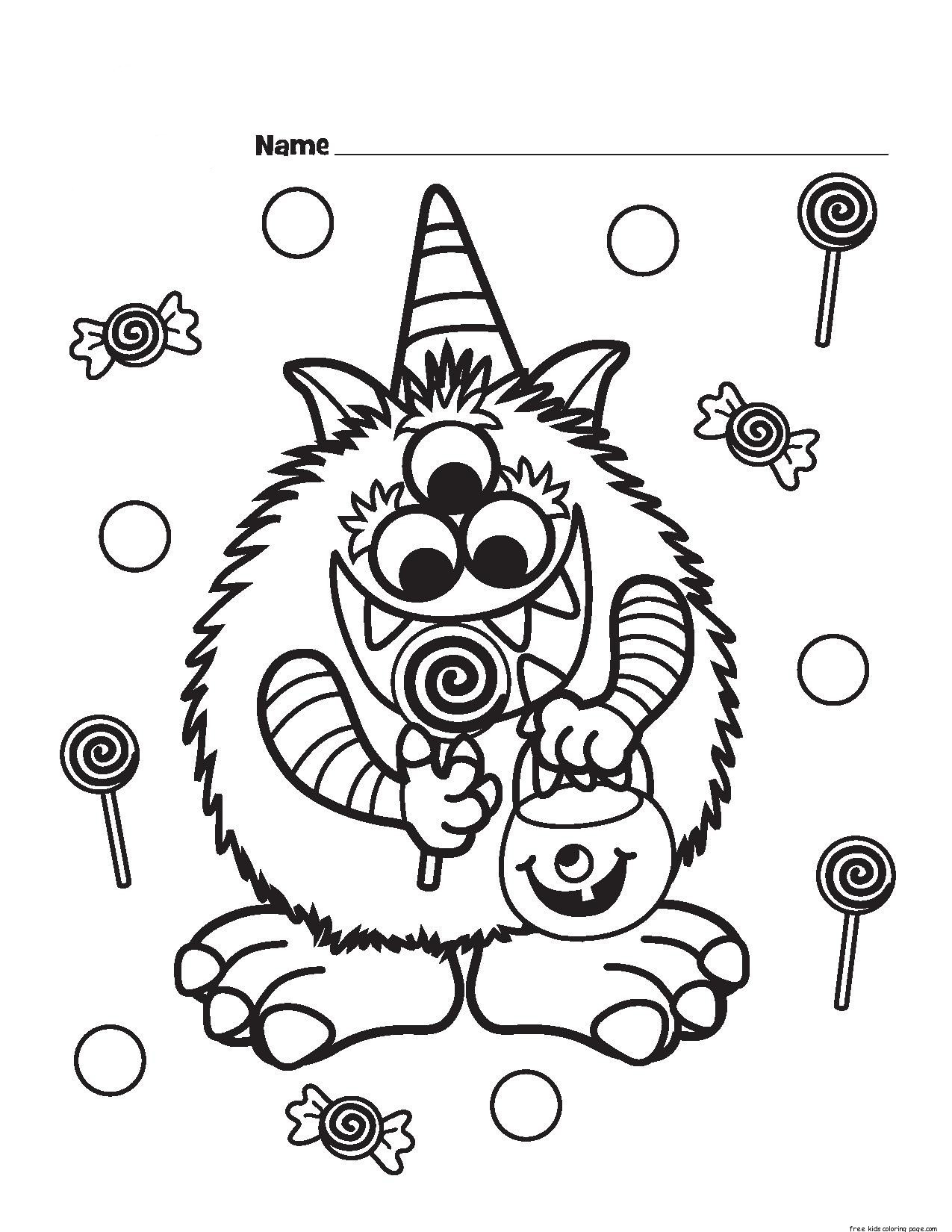Best ideas about Free Coloring Sheets For Kids Halloween Themed . Save or Pin Halloween Candy Critter printabel Coloring Page Free Now.